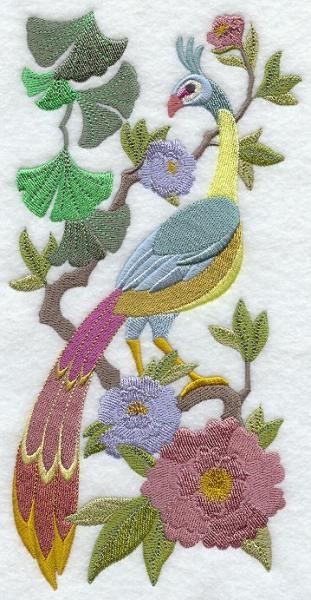 Embroidery Quilt Block,Chinoiserie Green Peafowl Panel,quilting block,