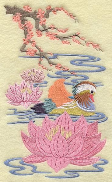 Embroidery Quilt Block, Chinoiserie Mandarin Duck  Panel ,quilting, block,