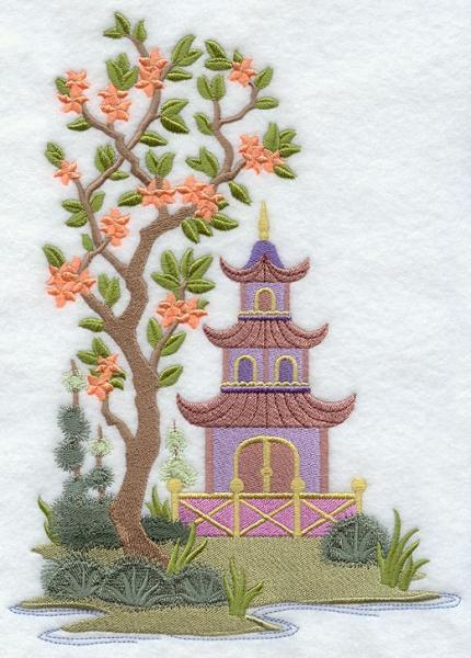 Embroidery Quilt Block, 	Chinoiserie Pagoda Panel ,quilting, block,