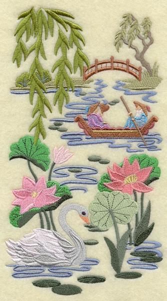 Embroidery Quilt Block, Chinoiserie Swan  Scene Panel ,quilting, block,