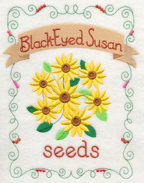 Embroidery Quilt block,Country charm seed packet-black-eyed susan ,quilting
