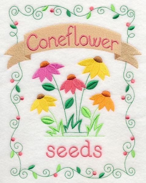 Embroidery Quilt block,Country charm seed packet-coneflower ,quilting block