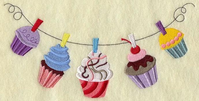 Embroidery Quilt block,Cupcakes clothesline,quilting block