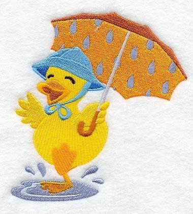 Embroidery Quilt block,Desi Duck Under Umbrella,quilting block,