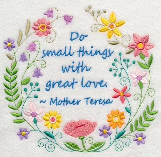 Embroidery Quilt block,Do Small Things with Great Love,quilting block,