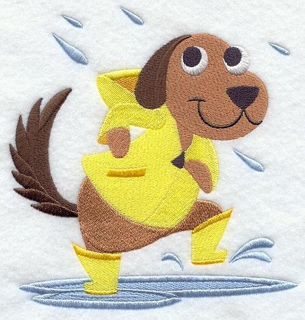 Embroidery Quilt block,Dog  Dancing in the rain,quilting, block,