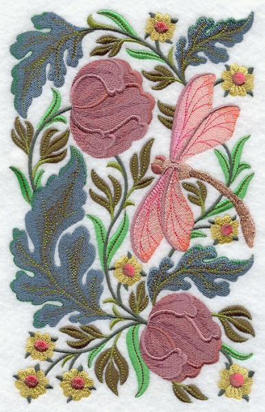 Embroidery Quilt block,Dragonfly In flower,quilting block,