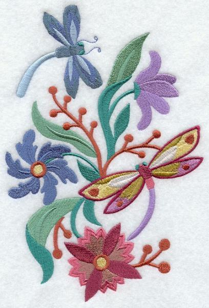 Embroidery Quilt block,Dragonfly Spring Nouveau,quilting block