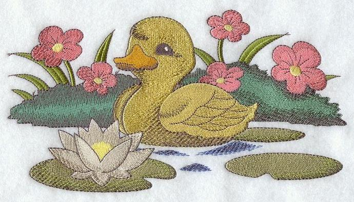 Embroidery Quilt block,Duckling in pond,quilting block,