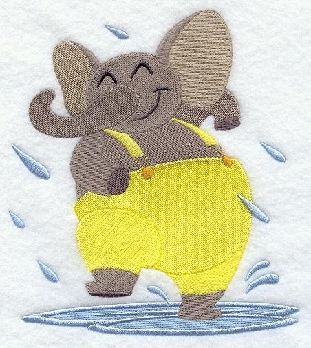 Embroidery Quilt block,Elephant Dancing in the rain,quilting, block,