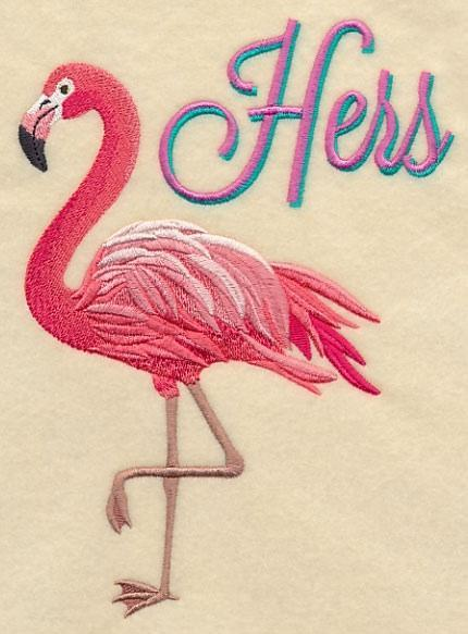 Embroidery Quilt block,Fabulous Flamingo - Hers,quilting block,