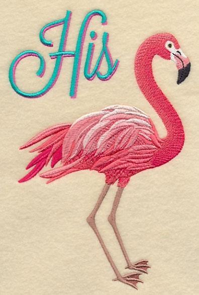 Embroidery Quilt block,Fabulous Flamingo - His,quilting block,