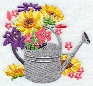 Embroidery Quilt block,fashion flower watering can 2,quilting block