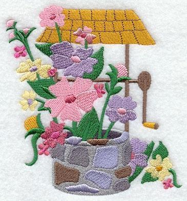 Embroidery Quilt block,fashion flower wishing well 2,quilting block