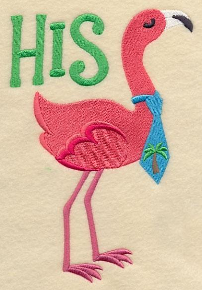 Embroidery Quilt block, Flamingo Fancy -His,quilting block,