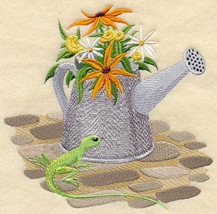 Embroidery Quilt block,Flowering watering can and lizard,quilting block