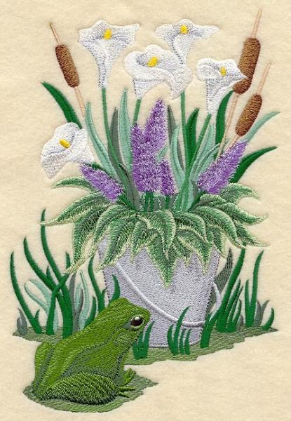 Embroidery Quilt block,Flowers and the frog,quilting block