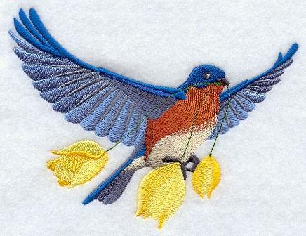 Embroidery Quilt block,Flying Bluebird with Tulips,quilting block,