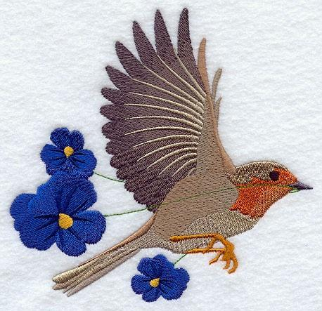 Embroidery Quilt block,Flying European Robin with Pansies,quilting block,