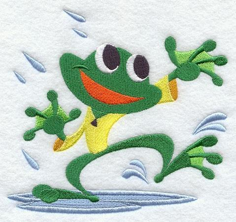 Embroidery Quilt block,Frog Dancing in the rain,quilting, block,