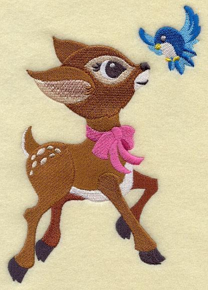 Embroidery Quilt block,Frolicking Deer and Bluebird,quilting, block,
