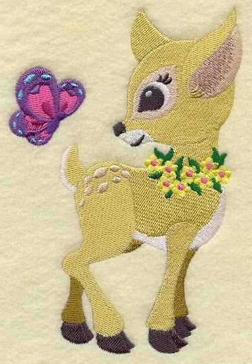 Embroidery Quilt block,Frolicking Deer and Butterfly,quilting block,