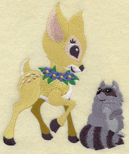Embroidery Quilt block,Frolicking Deer and Raccoon,quilting, block,