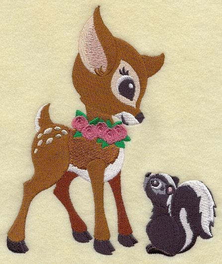 Embroidery Quilt block,Frolicking Deer and Skunk,quilting block,