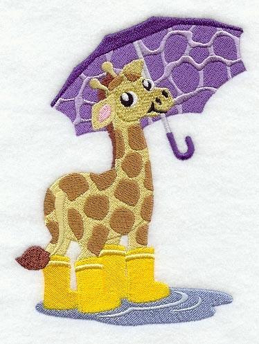 Embroidery Quilt block,Gideon Giraffe Under Umbrella,quilting block,