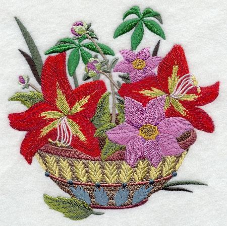 Embroidery Quilt Block, Guatemalan  Flower  Basket, quilting, block,