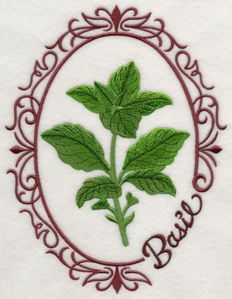 Embroidery Quilt block,Herb cameo-Basil,quilting block,