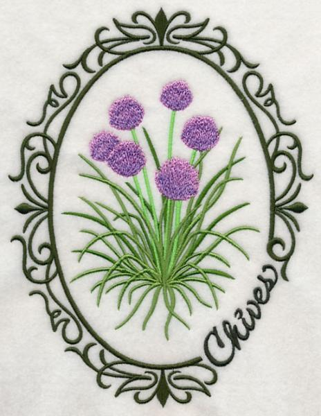 Embroidery Quilt block,Herb cameo-Chives,quilting block