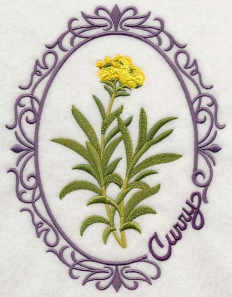 Embroidery Quilt block,Herb cameo-Curry,quilting block,