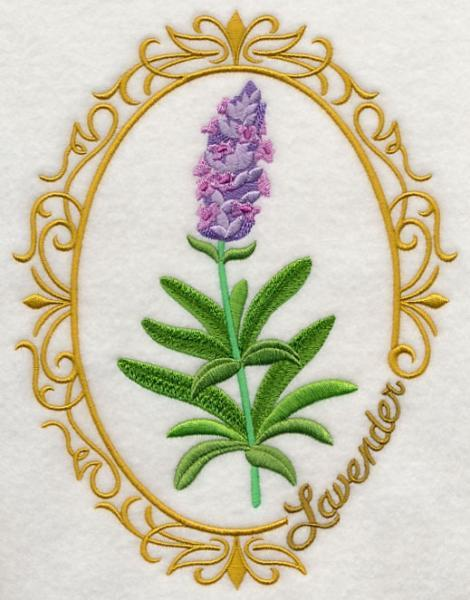 Embroidery Quilt block,Herb cameo-Lavender,quilting block