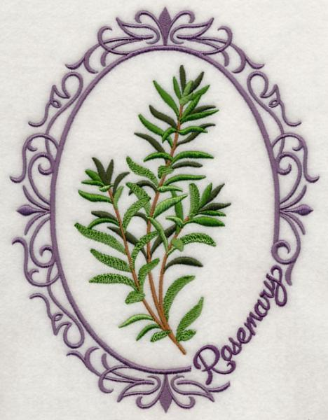 Embroidery Quilt block,Herb cameo-Rosemary,quilting block,