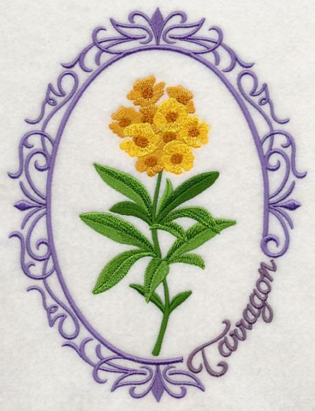 Embroidery Quilt block,Herb cameo-Tarragon,quilting block