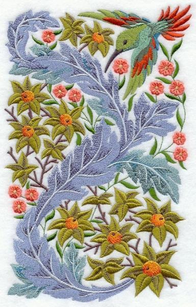 Embroidery Quilt block,Hummingbird In flower	,quilting block,