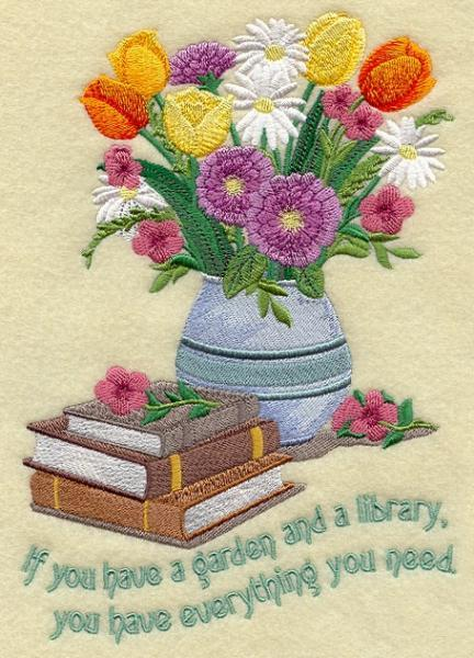 Embroidery Quilt block,if you have a garden and a library ,quilting block