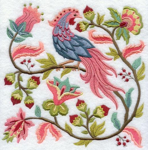 Embroidery Quilt Block,Jacobean  Bird and Flower Square 2,quilting block,