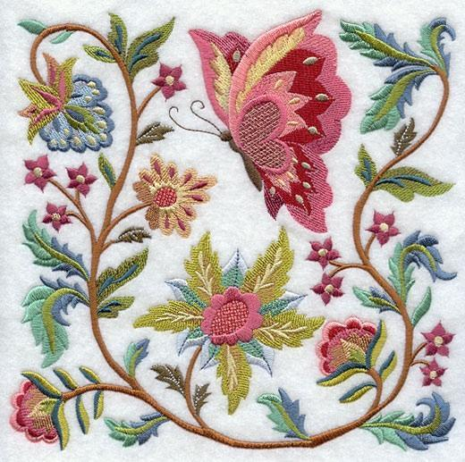 Embroidery Quilt Block,Jacobean Butterfly and Flower Square 2,quilting block,