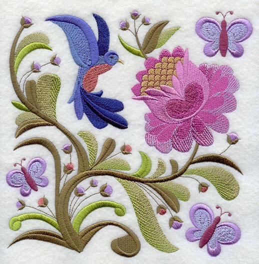 Embroidery Quilt block,Jacobean hummingbird garden, quilting block