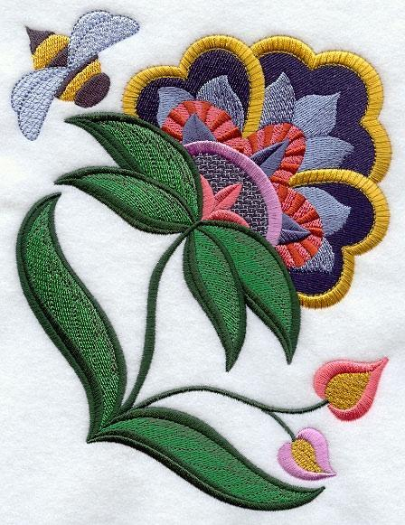 Embroidery Quilt block, Jubilant Jacobean Bloom 4,quilting block,
