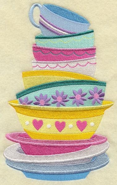 Embroidery Quilt block,Lets dish stack,quilting block