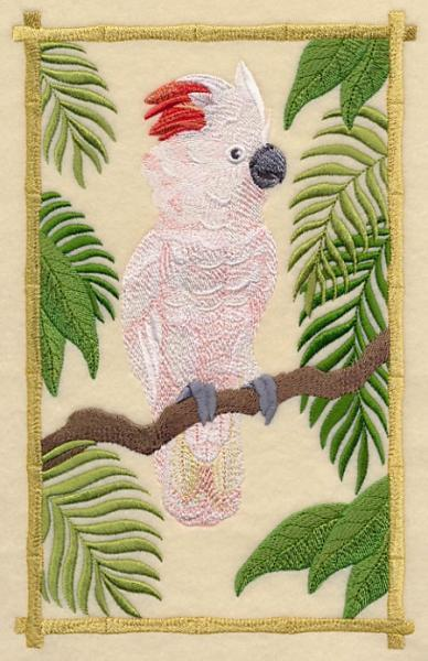 Embroidery Quilt block,Moluccan cockatoo in the tropics,quilting block,