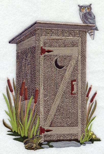 Embroidery Quilt block,outhouse with cattails,quilting block