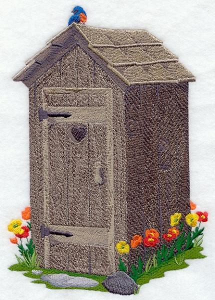 Embroidery Quilt block,outhouse with flowers,quilting block