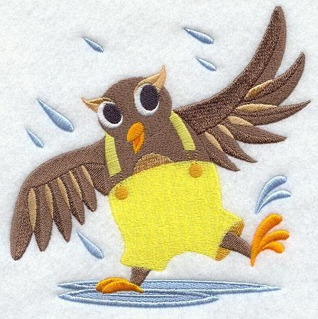 Embroidery Quilt block, Owl  Dancing in the rain,quilting, block,