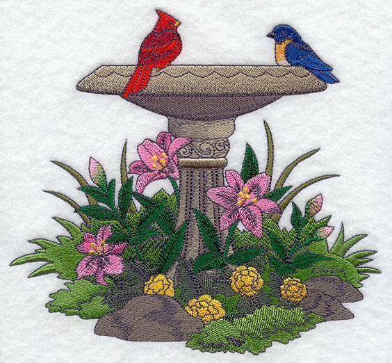 Embroidery Quilt block, Park place - birdbath ,quilting block