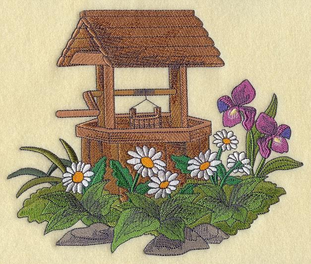Embroidery Quilt block, Park place -Wishing well,quilting block