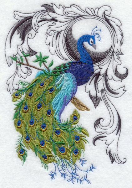 Embroidery Quilt block,Peacock Flourish,quilting, block,